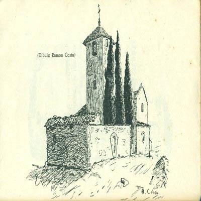 Església i cementiri de Sant Martí Sescorts. Dibuix de Ramon Costa publicat al poemari