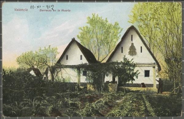 Postal o apareixen de dues barraques en un hort de l'Horta de València. (l'Horta) 1910 -1915. Autor: Desconegut, Edició F.C. València. Ajuntament de Girona.