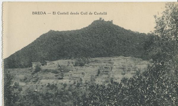 El castell de Montsoriu des de Coll de Castellar.  Imatge: Postal de Mauri. Arxiu Històric Municipal d'Arbúcies (amb la col•laboració del Museu Etnològic del Montseny).