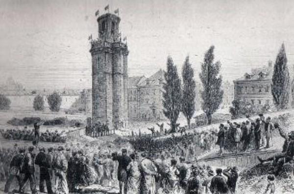 (provisional) 1868- Gravat de l'època que evoca el moment de l'inici de l'enderroc de la torre de Sant Joan el 26 de novembre de 1868 Barcelofilia